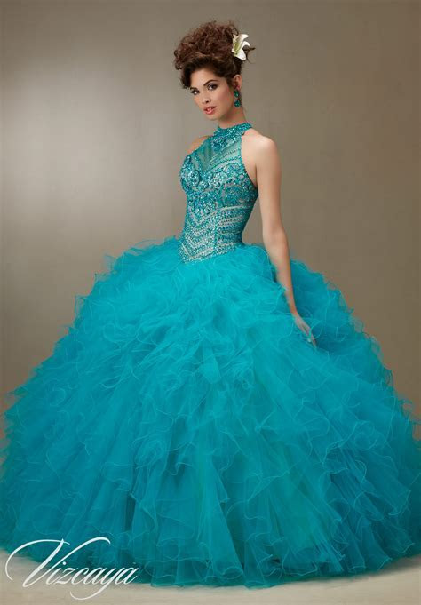 Jeweled Beading on a Ruffled Tulle Quinceañera Dress