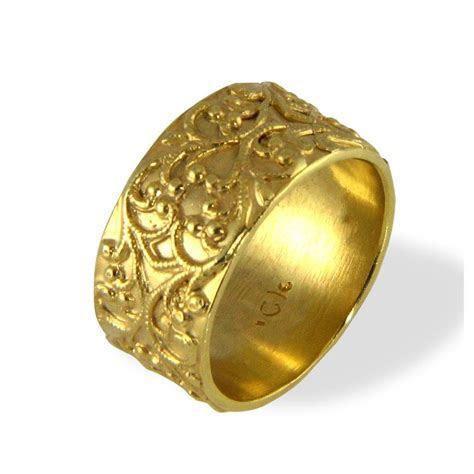 Filigree Wedding Band , Vintage Style Ring , Wide Wedding