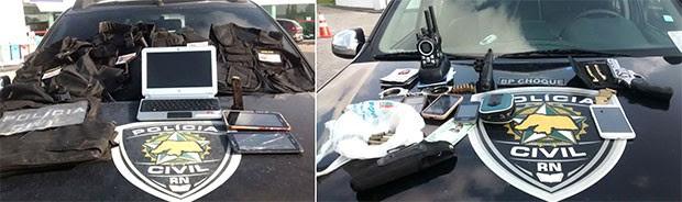 Armas e coletes a prova de balas foram apreendidos durante buscas feitas na empresa (Foto: Divulgação/Polícia Civil)