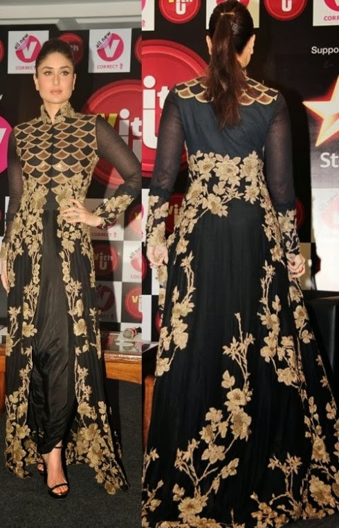 Kareena-Kapoor-Wear-Beautiful-Black-Gold-Churidar-Anarkali-Frock-Dress-by-Designer-Anamika-Khanna-11