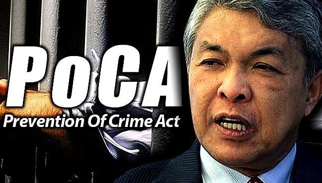 poca muslim Zahid threatens poca on money-laundering suspects said in his speech at a malaysian muslim for claiming that poca was not a draconian law.