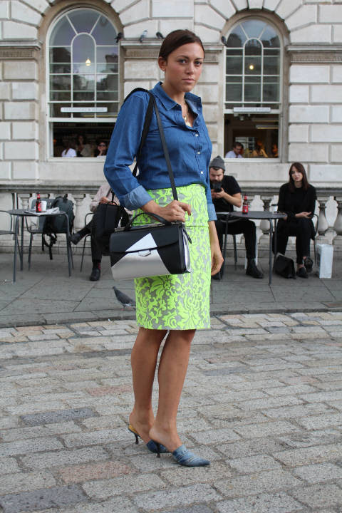 Holly wears: Skirt: Almost Famous, Shoes: L'Autre Chose, Bag: Fendi, Shirt: Uniqlo