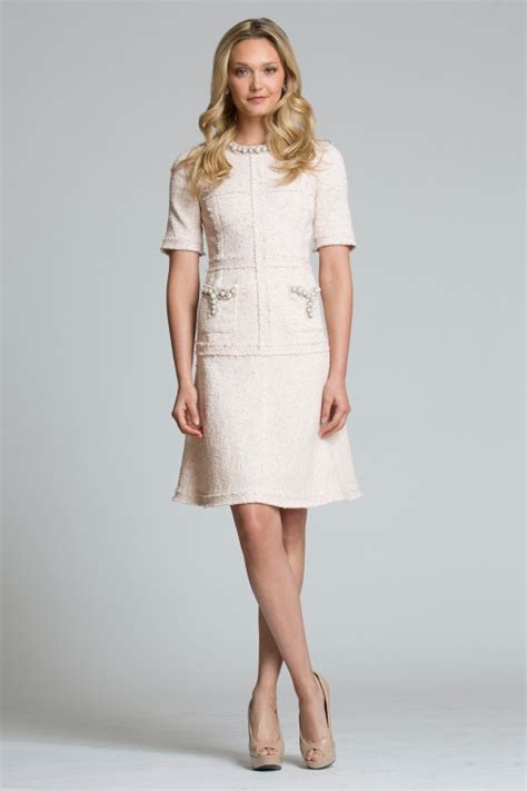 Short Sleeve Tweed Dress with Pearl Trim and Accents