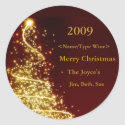 Gold Christmas Tree on Red Background Wine Label sticker
