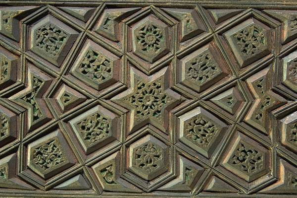 Slideshow 835-25: Carved wood panel with a geometric pattern on ...