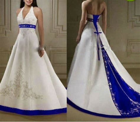 New White/Ivory Royal Blue Satin Wedding Dresses Halter