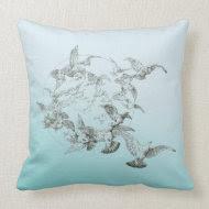 Vintage Birds Throw Pillows