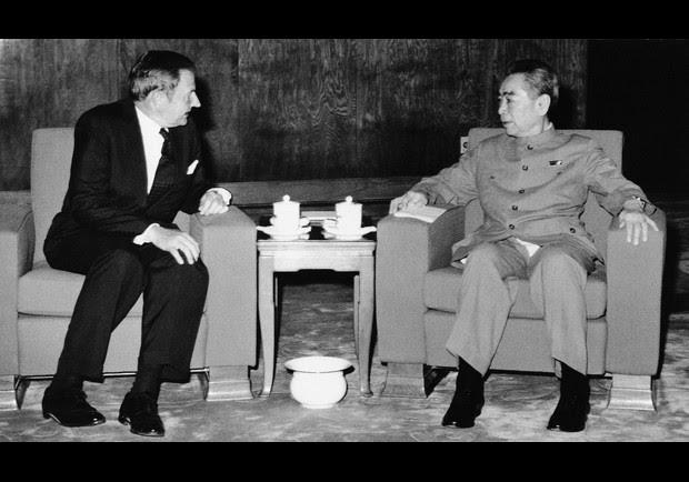 David Rockefeller with Chinese Premier Chou En-lai in Peking, June 1973. (AP Photo)