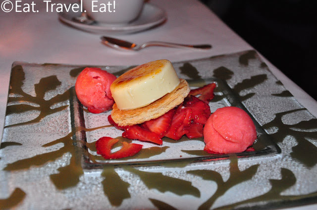 STRAWBERRY AND MINT INFUSED CRÈME BRULEE MILLE FEUILLE with Flash