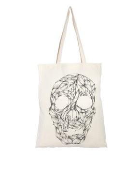 Image 1 of Borders&Frontiers Braid Skull Organic Cotton Canvas Shopper