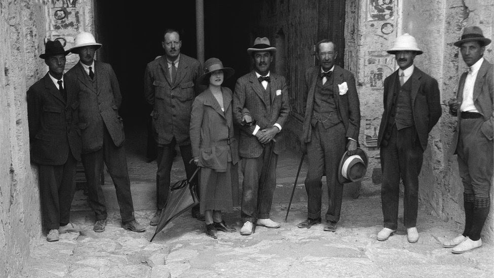 Lord Carnarvon and his party - ( L-R ) Mr Luce, Hon R Bethall, Mr Callender, Lady Evelyn Herbert, Howard Carter, Lord Carnarvon, Mr Lucas, Mr Burton in the Valley of the Kings, Luxor, Egypt, 1922