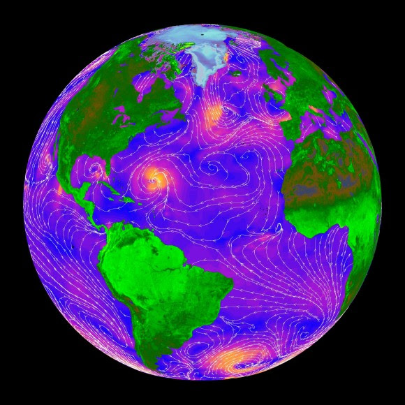 A false-color image of ocean wind speeds generated by NASA's  QuikScat satellite in 1999. Fast wind speeds are shown in orange, and blue ones are slow. The white shows where the wind is blowing. Credit: NASA/JPL-Caltech