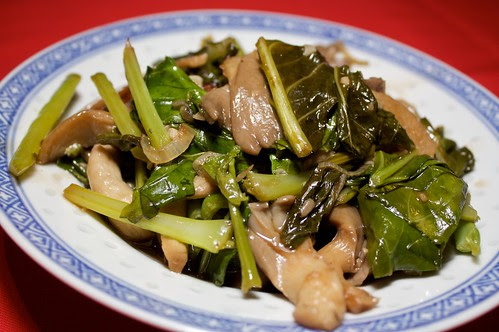 reunion dinner: mushrooms and gailan