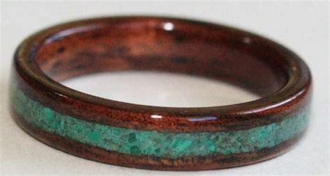 Wooden Wedding Rings: Dark Hawaiian Koa Wood Ring with a