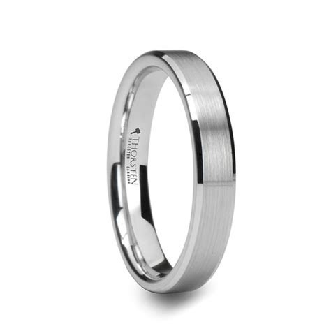 NABOO Satin Finish White Tungsten Band with Polished Edges