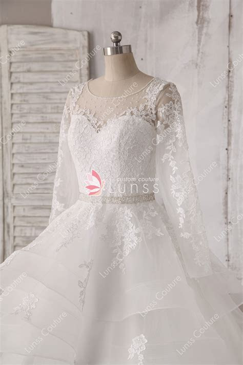 Beaded Illusion Long Sleeves White Lace and Tulle Ball