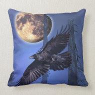 Raven and Moon Fantasy Throw Pillow throwpillow