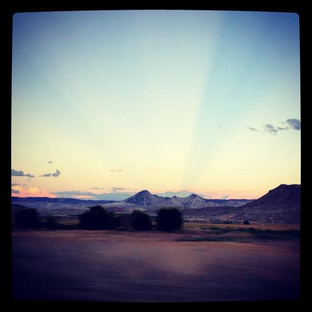 Eastern horizon at sunset, amazing sunbeams