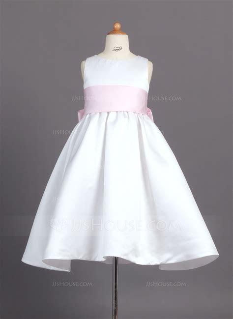 Ball Gown Ankle length Flower Girl Dress   Satin