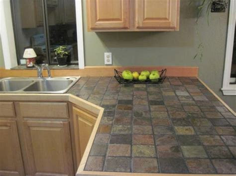 countertop colors  white cabinets slate tile kitchen