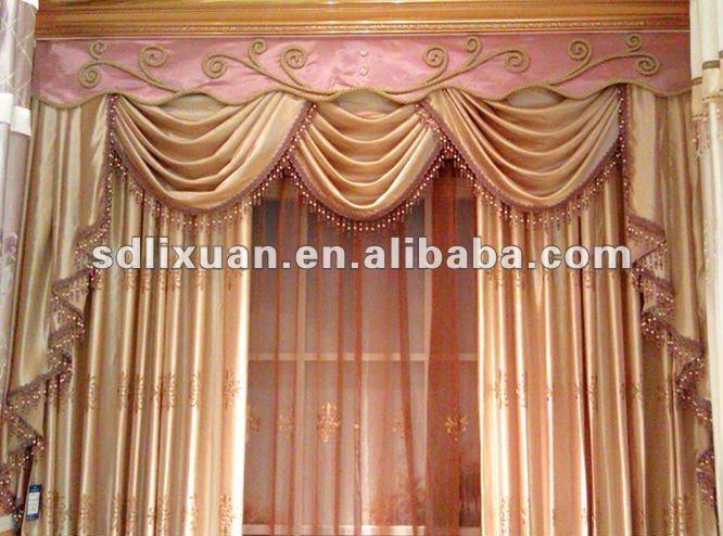 Valance design golden color home curtain set, View curtain, Ruibei ...