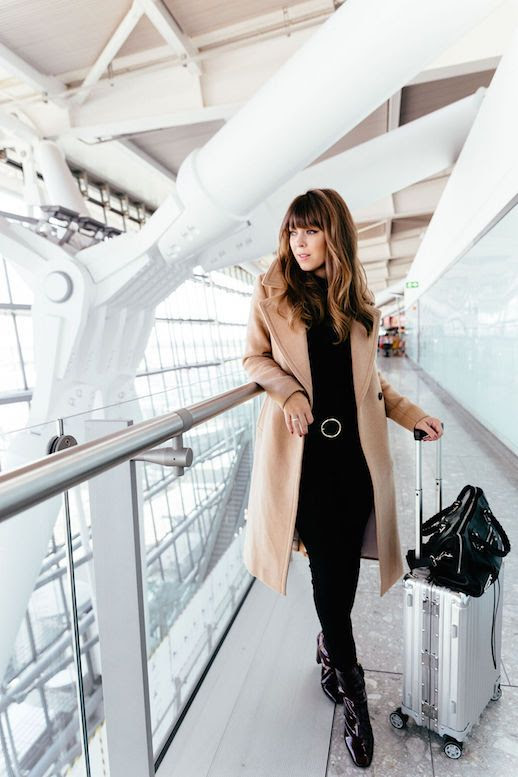 Le Fashion Blog Camel Long Coat Black Sweater Black Jeans Patent Leather Boots Via Margo And Me