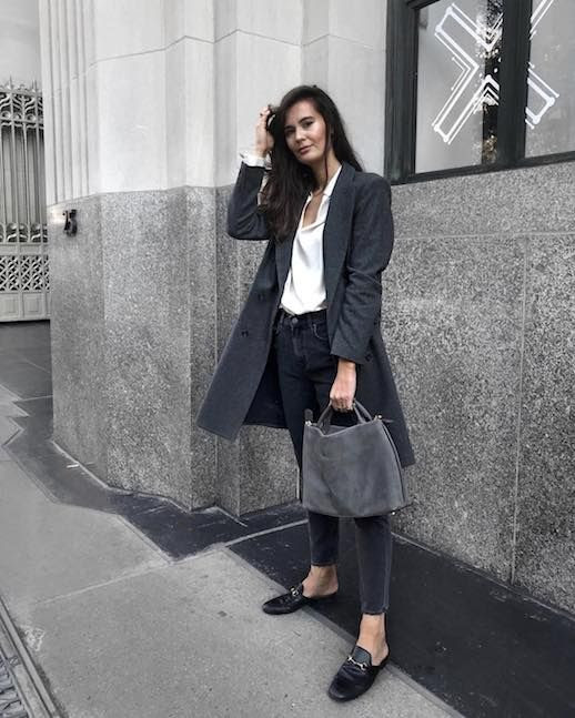 Le Fashion Blog Workwear Grey Long Coat White Blouse Raw Hem Dark Jeans Black Loafers Via @ivanakorda