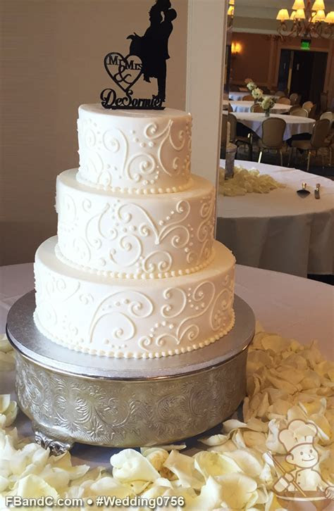 "Design W 0756   Butter Cream Wedding Cake   12"" 9"" 6"