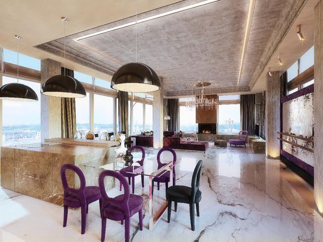 PENTHOUSE st. Gilyarovskogo - contemporary - living room - other ...