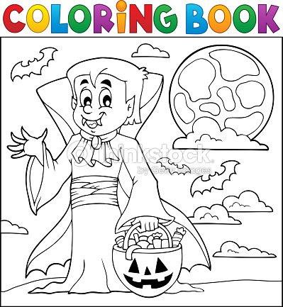 Libro Para Colorear Con Halloween Vampiro Arte Vectorial Thinkstock