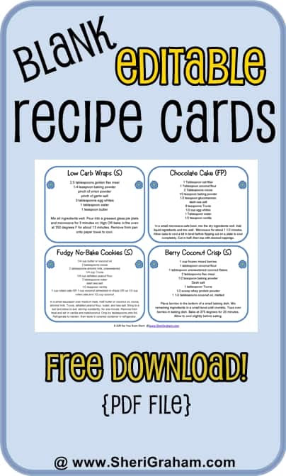 Blank Editable Recipe Cards - 2 & 4 card versions {free download ...
