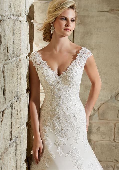 Morilee Bridal Alencon Lace Appliques on Net with Crystal