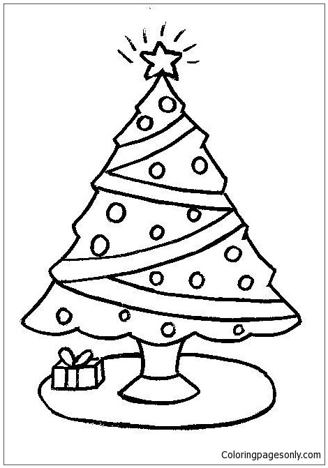 Simple Christmas Tree Coloring Page - Free Coloring Pages ...