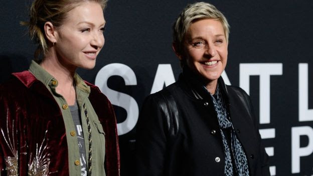 Actress Portia de Rossi (L) and TV personality Ellen DeGeneres