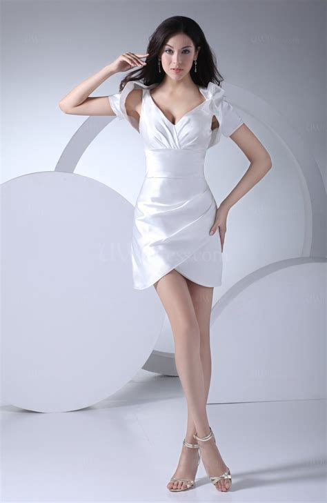 White Simple Column Zipper Mini Ruching Cocktail Dresses