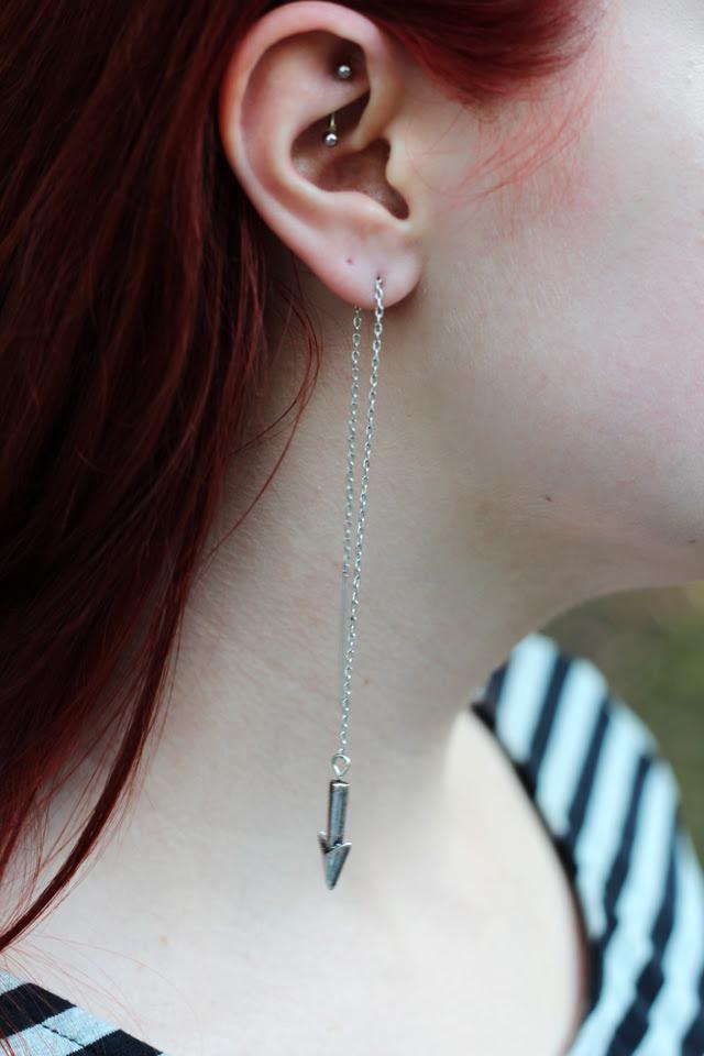 Chained Arrow Earrings, Rook Piercing