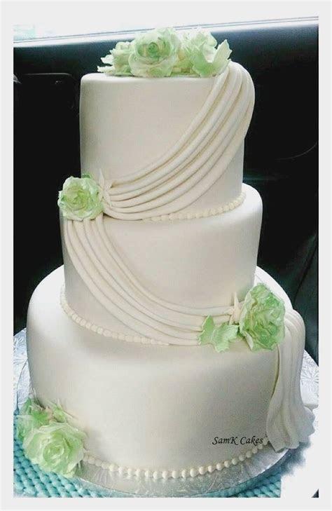 Simple, Elegant 3 Tier White And Green Wedding Cake