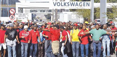 Autoworkers strike in South African on August 21, 2013. The country has been hit by labor strife over the last year. by Pan-African News Wire File Photos