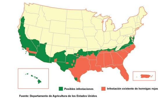 Rango de infestación posible o existente de hormigas rojas extranjeras