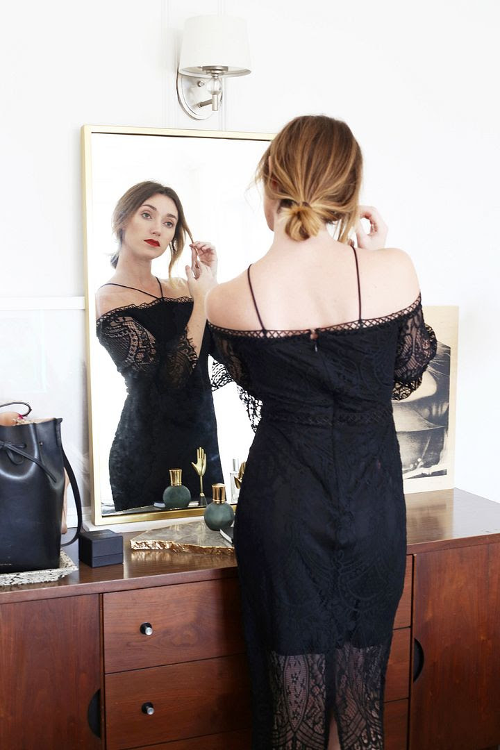 New Years Eve Outfit Ideas Red Lipstick Mid Century Home Decor Off The Shoulder Black Lace Dress Kohls Photographer Erin Pederson Model Katie Wohlers Styling Jenn Camp Le Fashion Blog