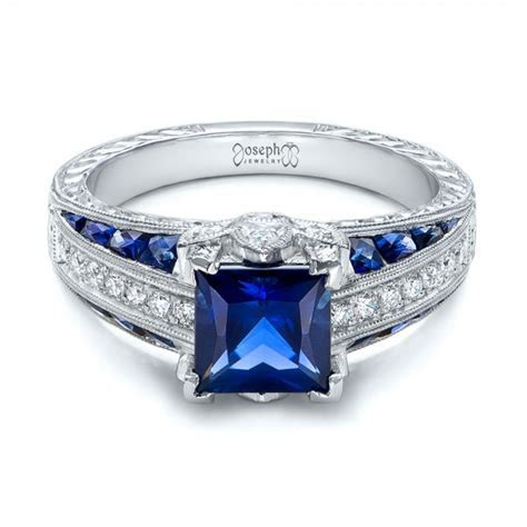 Custom Blue Sapphire and Diamond Engagement Ring #102163