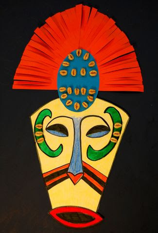 I especially like the mouth, and the head dress: african masks folk art | African Art Masks For Kids