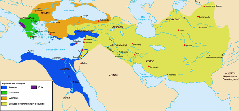 Une carte du monde hellénistique avec les grands royaumes