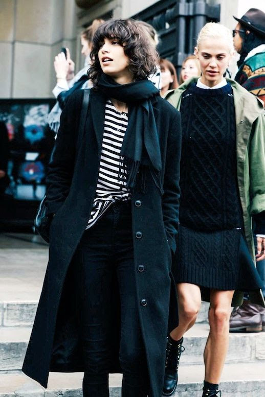 Le Fashion Blog Mica Arganaraz Model Off Duty Street Style Fringe Scarf Striped Tee Longline Coat Dark Wash Jeans Via Vogue Paris