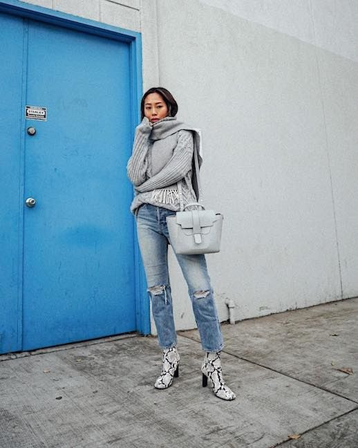 Le Fashion Blog Cozy Chic Grey Turtleneck Grey Scarf Distressed Jeans Snakeskin Boots Via @Songofstyle