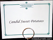 Photo: Menu card says ''Candid Sweet Potatoes.''