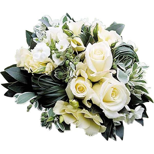 envoyer bouquet rond blanc pour deuil pas cher