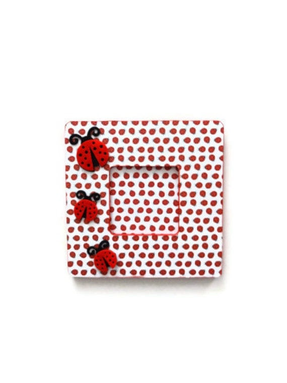 Ladybug Picture Frame Red Frame Ladybug Home by lilaccottagecards