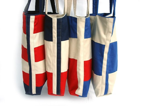 Nautical canvas tote, shoulder bag