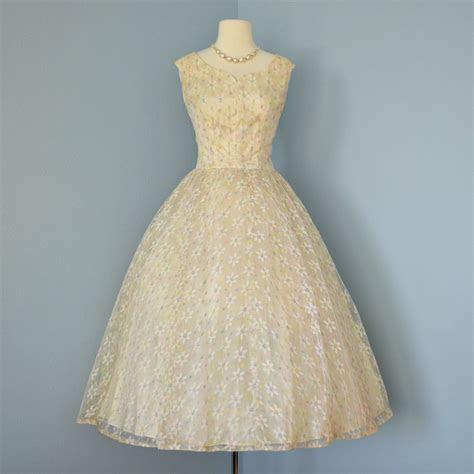 Vintage Tea Length Wedding Dress 1950's Emma Domb Pale